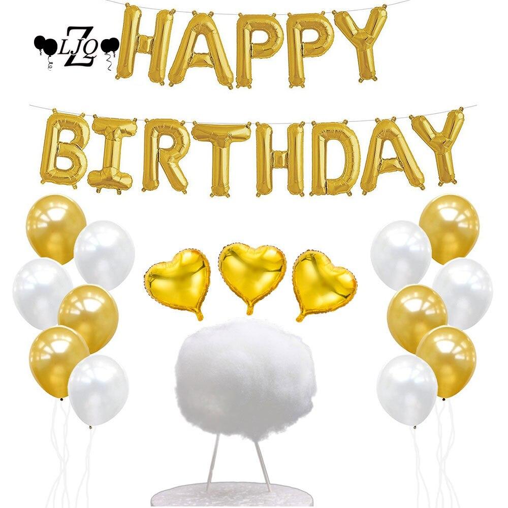 Zljq 25 Pcs Happy Birthday Banner Heart Balloon Decoration
