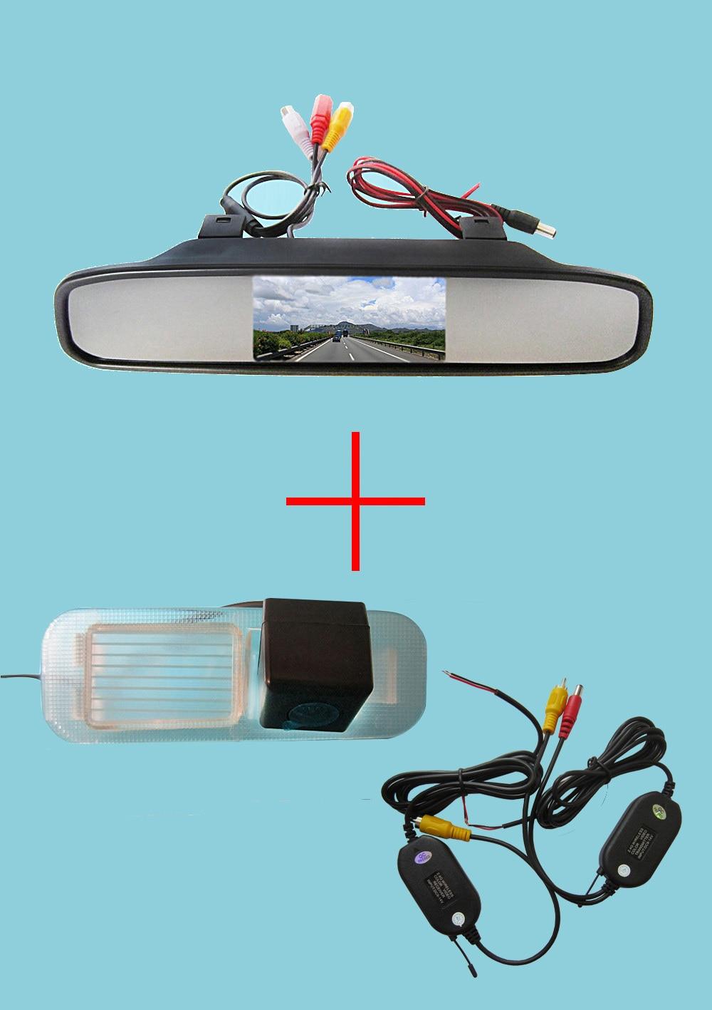 Wireless Color CCD Chip Car Chip Rear View Camera for Kia K2 RIO Sedan + 4.3 Inch rearview Mirror Monitor wireless color ccd chip car rear view camera for kia sorento sportage 4 3 inch foldable lcd tft monitor