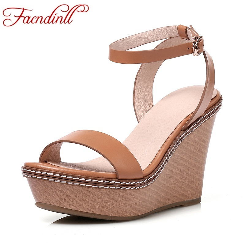 FACNDINLL summer women shoes sandals elegant wedges sandals platform casual sandals fashion genuine leather high heel dress shoe facndinll summer shoes women sandals