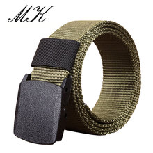 Casual Plastic Automatic Buckle Canvas Belts for Men Military Tactical Belt Designer High Quality Male Strap 110cm