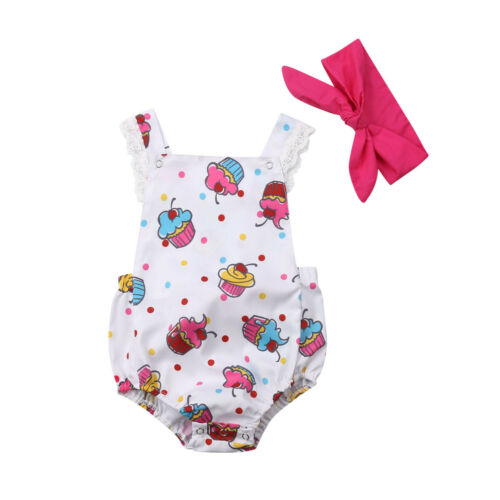 2019 Cute Carton Baby Girls Floral   Romper   Ice cream Jumpsuit Summer Headband Outfits for Kid clothes toddler Children newborn