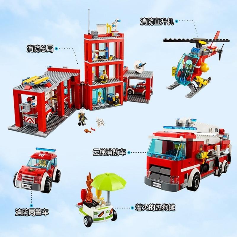 Legoings 60110 958 pièces série de ville la caserne de pompiers modèle bloc de construction brique jouet pour enfants cadeau d'anniversaire 10831 - 4