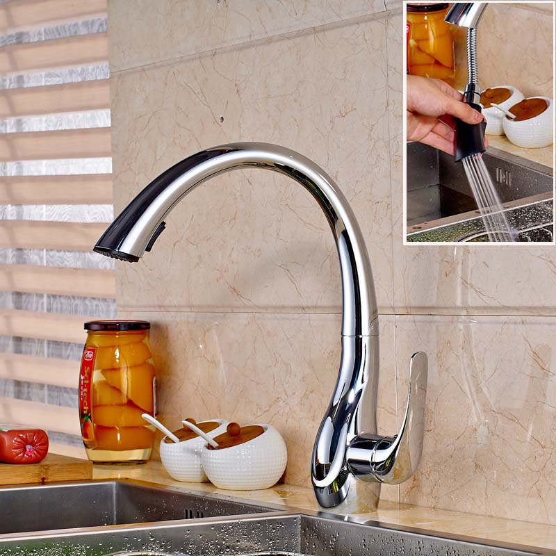Wholesale and Retail Kitchen Sink Faucet Chrome Finished Deck Mounted Swicel Spout Pull Out Mixer Tap