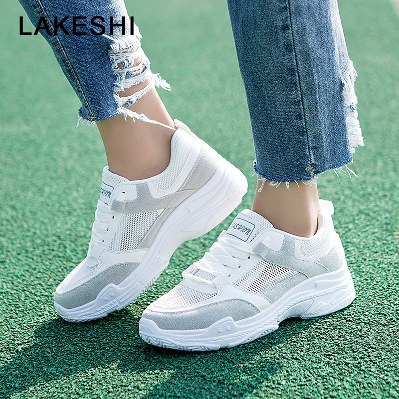 LAKESHI Summer Women Sneakers 2018 Mesh Walking Shoes Breathable Women Casual Shoes Lace Up Women Flats Lightweight Female Shoes 2016 hot sale fashion women walking shoes summer lightweight breathable women casual shoes flats zapatos mujer trainers r013