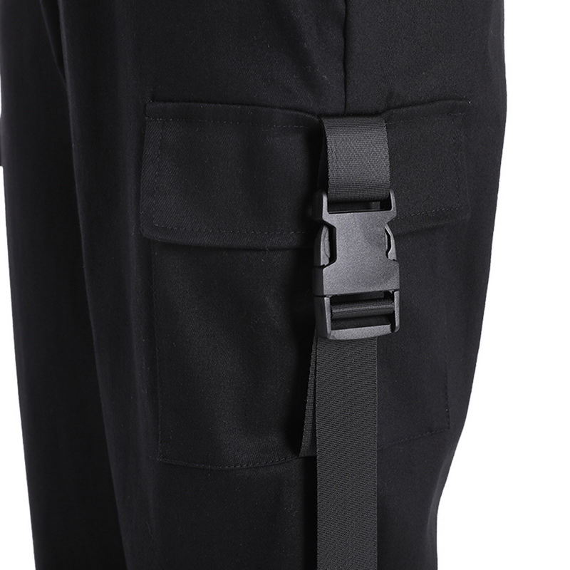 ADISPUTENT Streetwear Cargo Pants Women Casual Joggers Black High Waist Loose Female Trousers Korean Style Ladies Pants Capri 28