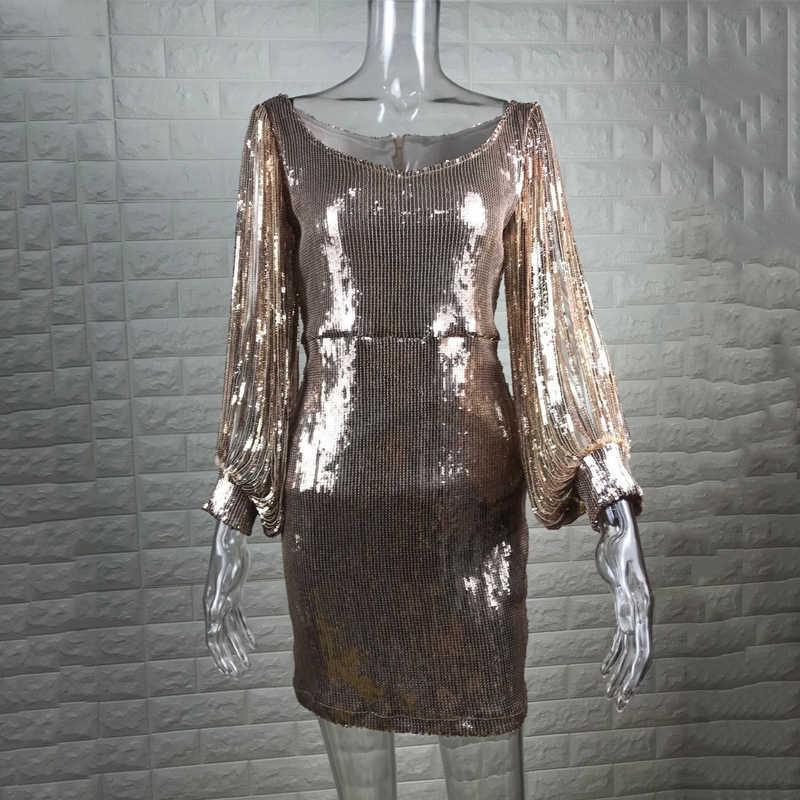 dd02d1bdfa Sexy Tassels Detail Sequin Party Dress Women Slit Sleeve Sparkly Bodybon  Dress Autumn Long Sleeve V-neck Club Dress Vestido 2018