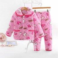Children Pajamas 3 Layer Warm Clothes Thicken Winter Pajama Sets Kid Sleepwear Set for Children 2019 New Fashion