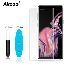 Akcoo Note 8 full cover tempered glass for Samsung galaxy S8 9 Plus note screen protector UV glue S6 7 edge