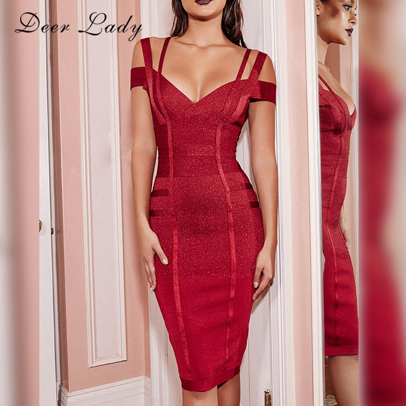 Deer Lady Women Wine Red Dress Bandage 2017 New Arrivals V Neck Bodycon Party Dress Knee Length Sexy Off Shoulder Bandage Dress
