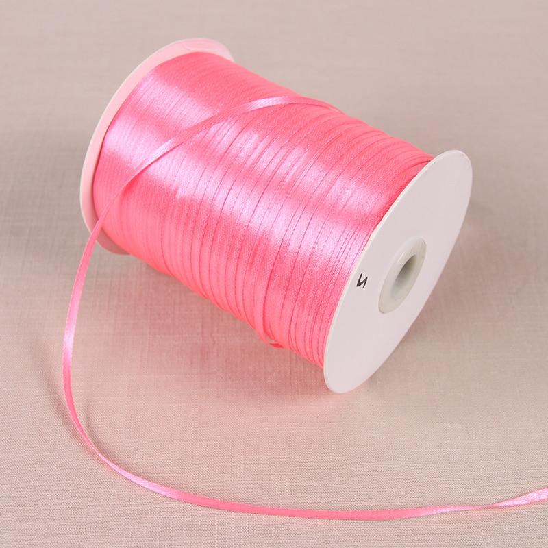 22 м/лот 3 мм атласные ленты для свадьбы День рождения коробка шоколадных конфет подарочная упаковка ленты Рождество Хэллоуин Декор - Цвет: Peach Pink