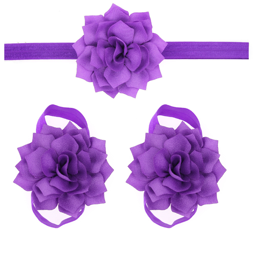 2016 Newborn Flower Headband Barefoot Sandal Sets Satin Flower Hair Accessories For Photography Props 13 Colors pick metting joura vintage bohemian green mixed color flower satin cross ethnic fabric elastic turban headband hair accessories