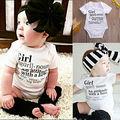 2016 New Baby Girls Bodysuit Summer Short Sleeve Letter Print White Baby Body Playsuit Clothing 0-24M