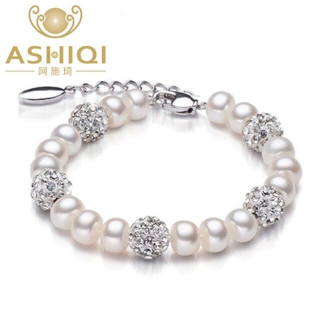 ca71520ac92f € 8.54 35% de DESCUENTO Pulsera de perlas de agua dulce Natural Real para  mujer 925 Plata de Ley perlas de arcilla joyería Navidad pulsera regalo ...