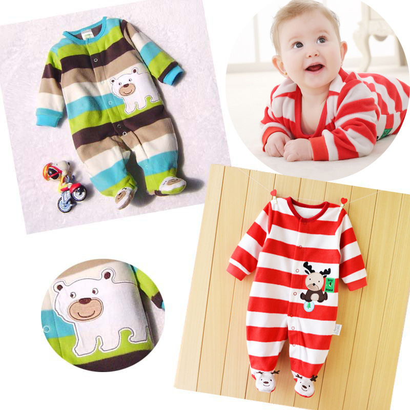 0-12M Autumn Fleece Baby Rompers Cute Cartoon Clothing Set for Baby Boys Infant Baby Girls Clothes Jumpsuits Foot Coveralls 0 12m autumn cotton baby rompers cute cartoon clothing set for baby boys infant girls clothes jumpsuits foot coveralls romper