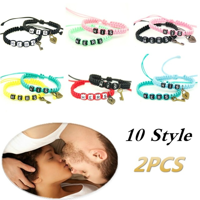 2pcs/pair Couple Bracelets His And Hers With Key Lock Lovers Personalized Gift Rope Chain Handmade Charm Men Bracelets Accessory