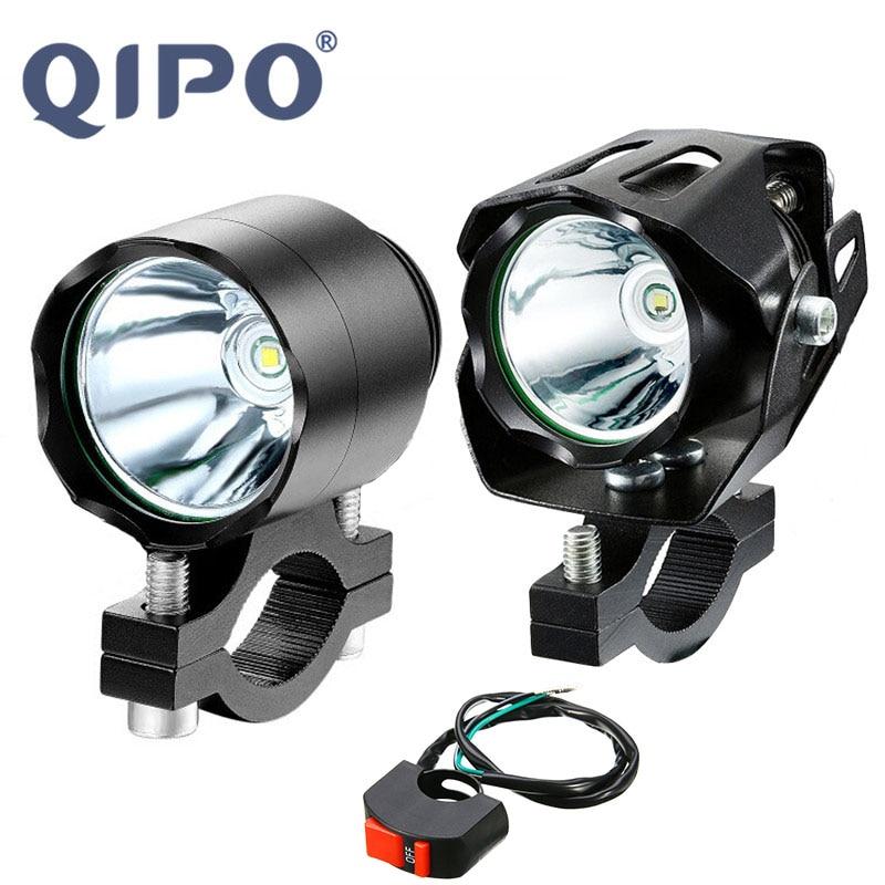 QIPO Universal LED Motorcycle Headlight Light Motorbike Aluminium Alloy Fog Shoot Bulbs Lamp T6 10W 6000LM Fit For Honda