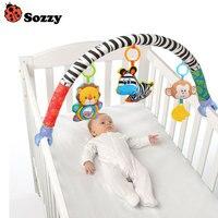 Newborn Crib Bed Hanging Bell/Rattles Toys Plush Lion/Monkey/Zebra Animal Clip Infant Baby Dolls For 0-2 Years Kids FJ88