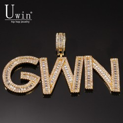 Uwin Cutsom Baguette Letters Name Necklace & Pendant Bling Bling Full Iced Out Luxury Zirconia Tennis Chain HipHop Jewelry