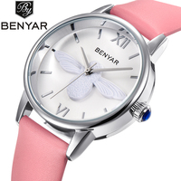 BENYAR Fashion Casual Bee Quartz Watch Women Leather Strap Montre Reloj Mujer Luxury Women Watches Waterproof
