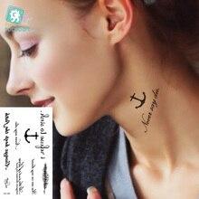 Rocooart HC1144 Fake Tattoo Harajuku Black Words Anchor Leaf Design Women Finger Cute Flash Tattoo Temporary Tattoos Sticker