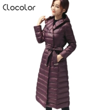 Clocolor Winter Jacket Women Parkas Thicken Plus Size Ladies Down Coats with Hoods Long Sleeve Black Slim Casual Winter Jackets