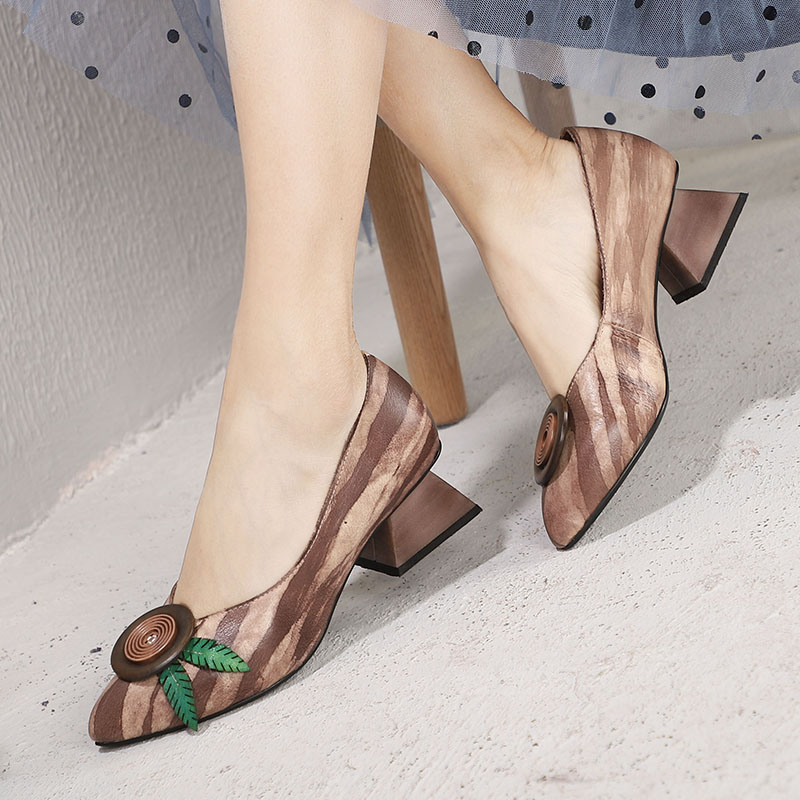 2019 New Arrival Vintage Shoes Woman Pumps Pointed Toe Lady High Heel Shoes Flower Handmade Natural