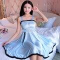 Платье сна Сексуальные Атласные Пижамы Шелковой Ночной Рубашке Женщины Ночная Рубашка Сексуальное Женское Белье Плюс Размер S, M, L, XL Женщин Ночнушка
