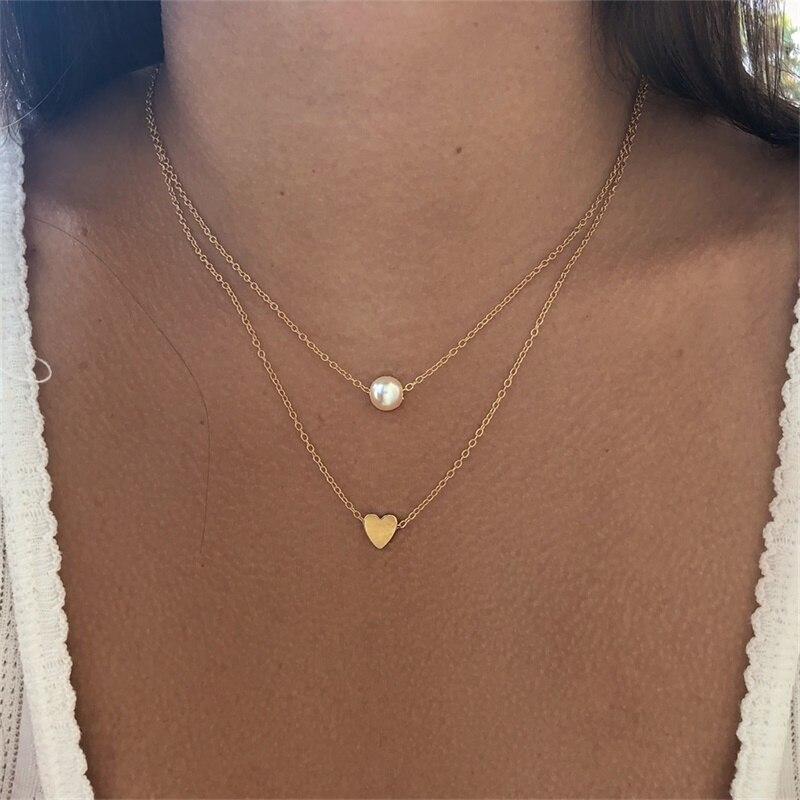 VKME модное жемчужное ожерелье с двойным слоем Love аксессуары Женское Ожерелье Bijoux подарки - Окраска металла: N643-1