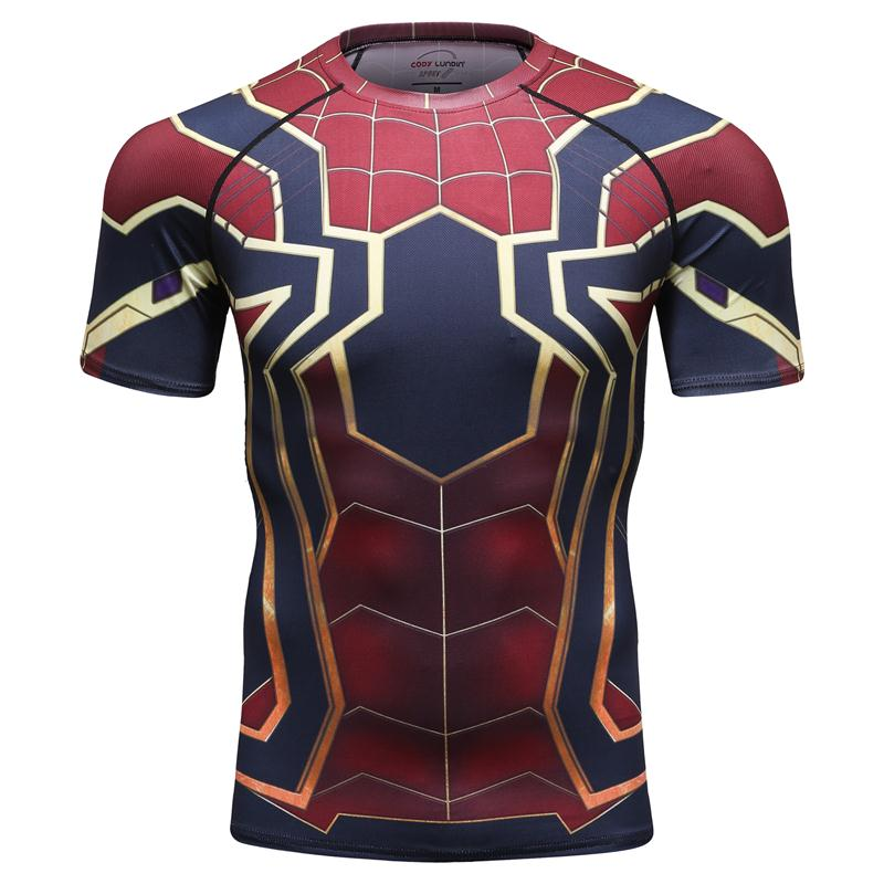 Hohe Qualitä<font><b>t</b></font> <font><b>2018</b></font> Film Superheld Rächer Allianz 3 Infinite Krieg Eisen Spinne Spiderman Cosplay <font><b>T</b></font>-<font><b>shirt</b></font> Polyester Oansatz <font><b>T</b></font>-<font><b>shirt</b></font> image