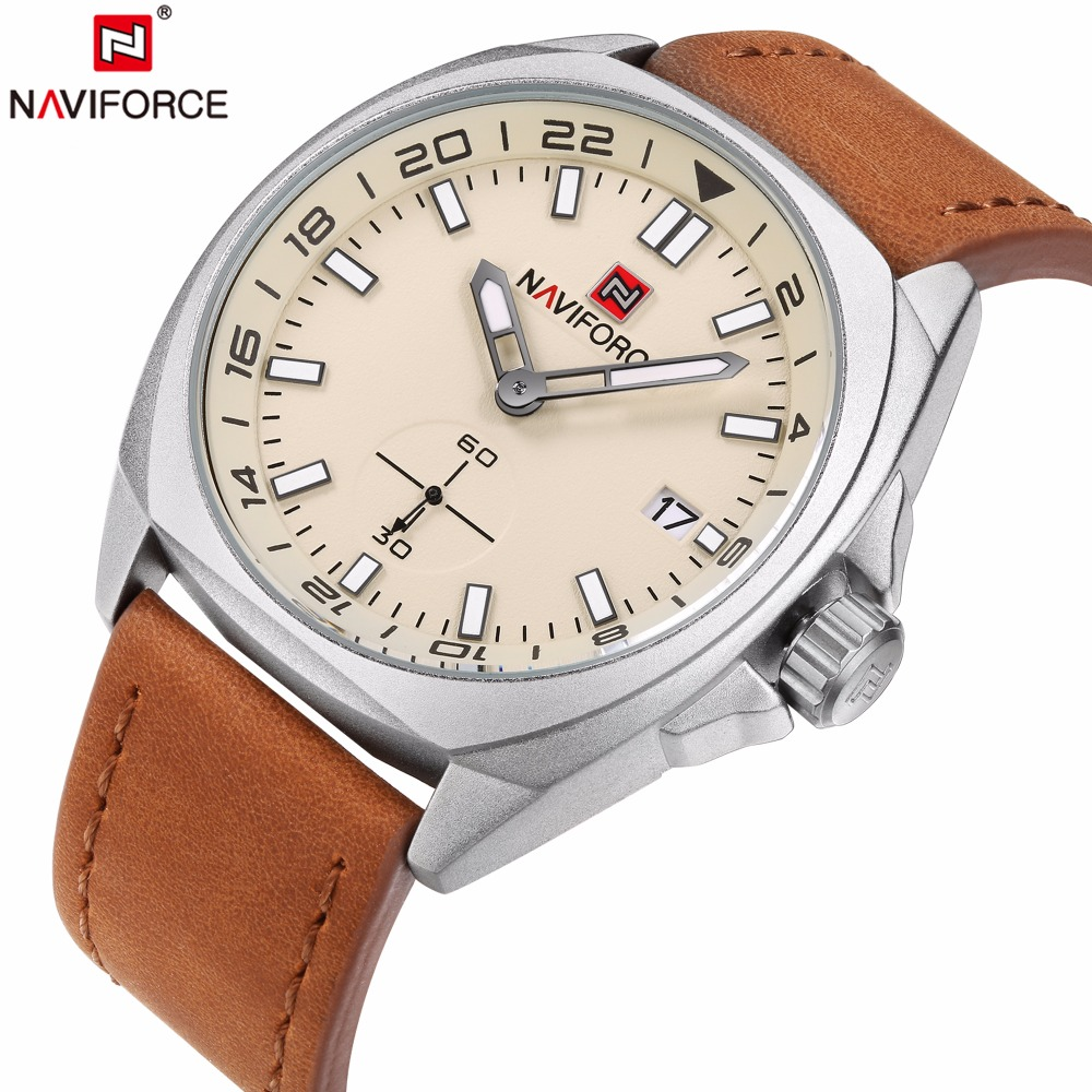 NAVIFORCE Mens Watches Top Brand Luxury Unique Leather Quartz Watch Men Waterproof Sport Date Clock Man Fashion Wrist watches 2016fashion top luxury brand unique vogue mens quartz watches wooden outdoor sport watches clock casual wood watch