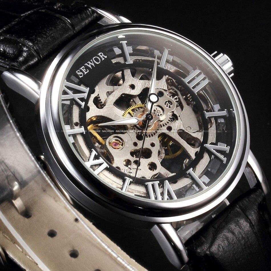 048d031c8b9 Relógios Mecânicos Top de Luxo da Marca Sewor Esqueleto Relógio Mecânico