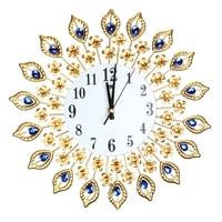 Large Wall clock Luxury Peacock Diamond Metal Crystal Digital Needle Clocks for Living Room Home Decoration Large Wall Clock