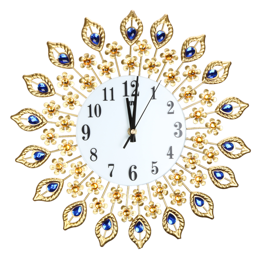 Online buy wholesale decorative metal wall clocks from china large wall clock luxury peacock diamond wall clocks metal living room digital needle wall home decoration amipublicfo Image collections