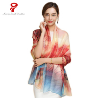 Scarf 100 Mulberry Natural Silk Long Scarf Women Luxury Brand Spring Autumn Female Printed Shawls Summer
