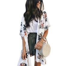 womens tops and blouses Beach Style Cardigan Kimono Ladies Floral Print Summer Fashion Sunscreen Shirts