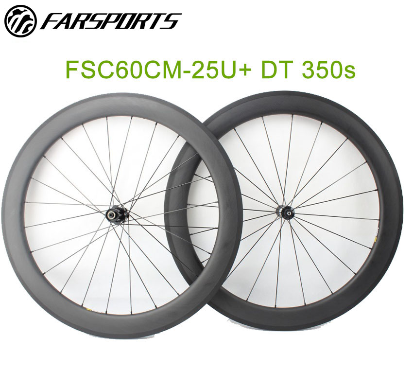 Aero U shape 60mm carbon clincher wheelsets with DT350 hub and Sapim aero spokes 20H 24H