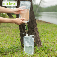 Outdoor camping hiking Portable emergency survival water filter system with water bag