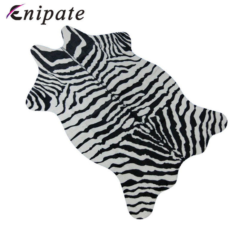 Enipate Zebra/Cow Goat Printed Carpet Velvet Imitation Leather Rugs Cowhide Animal Skins Natural Shape Carpets Mats 110*75cm