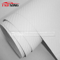 Free shipping 3D White carbon fiber sticker 3D carbon wrap Foil for car wrap with air free bubbles with size: 1.52*30m per roll