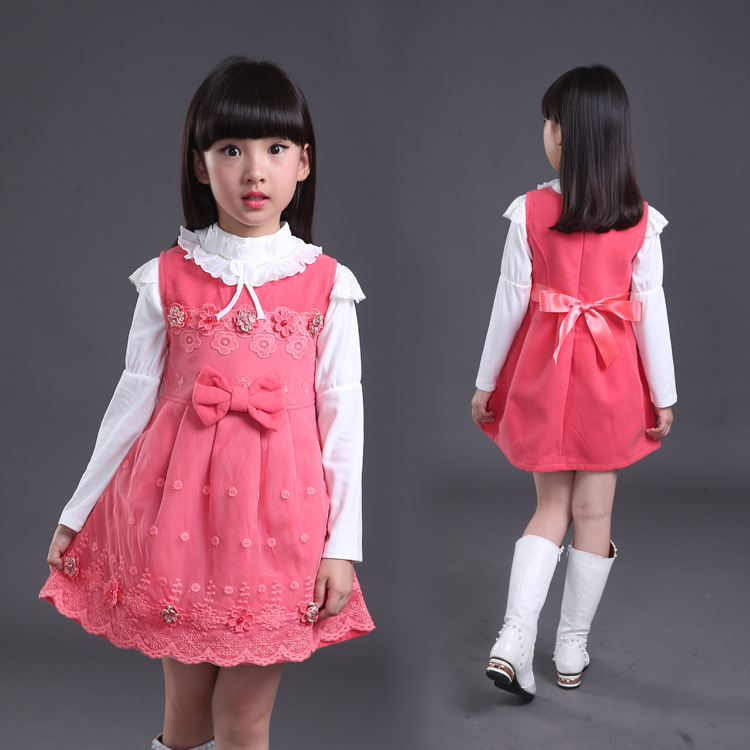 54ad7a4f4366 2016 Fall Girl Pinafore Dress Woolen Child Dresses Girl Wear Kids Clothes  Children Dress Baby Girls Clothes Size 4 14y-in Dresses from Mother & Kids  on ...