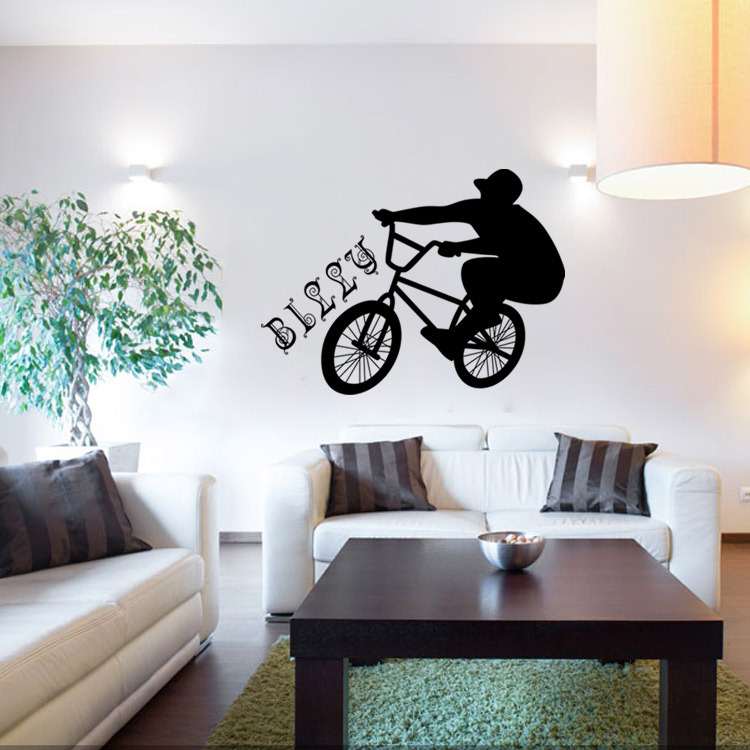 Creative Wall Sticker Bike Boys Home Decal Bedroom
