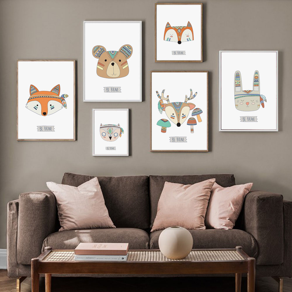 Fox Bear Animal Be Brave Nursery Canvas Painting Kids Poster Nordic Wall Picture Baby Kids Room Wall Art Decor Picture Unframed in Painting Calligraphy from Home Garden