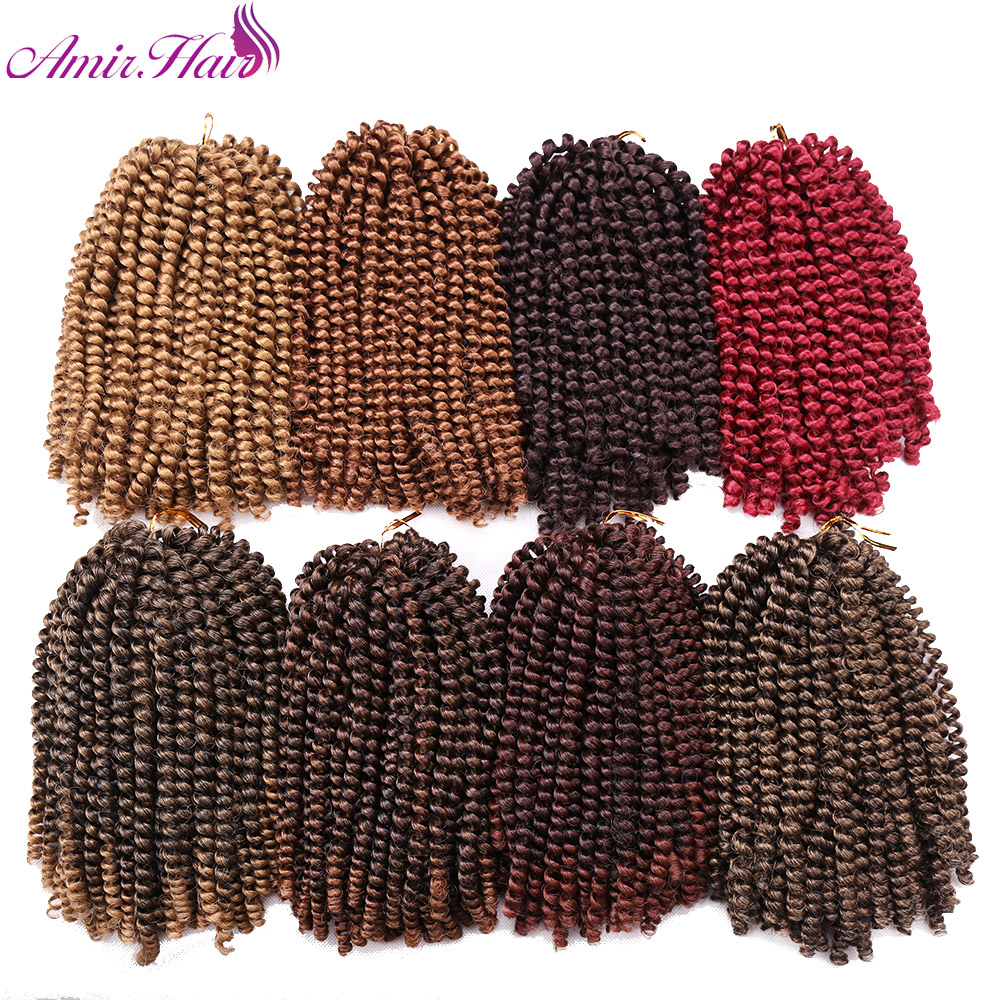 Amir Hair Curly Synthetic black blond and burgundy 16inch Spring curl crochet hair extentions