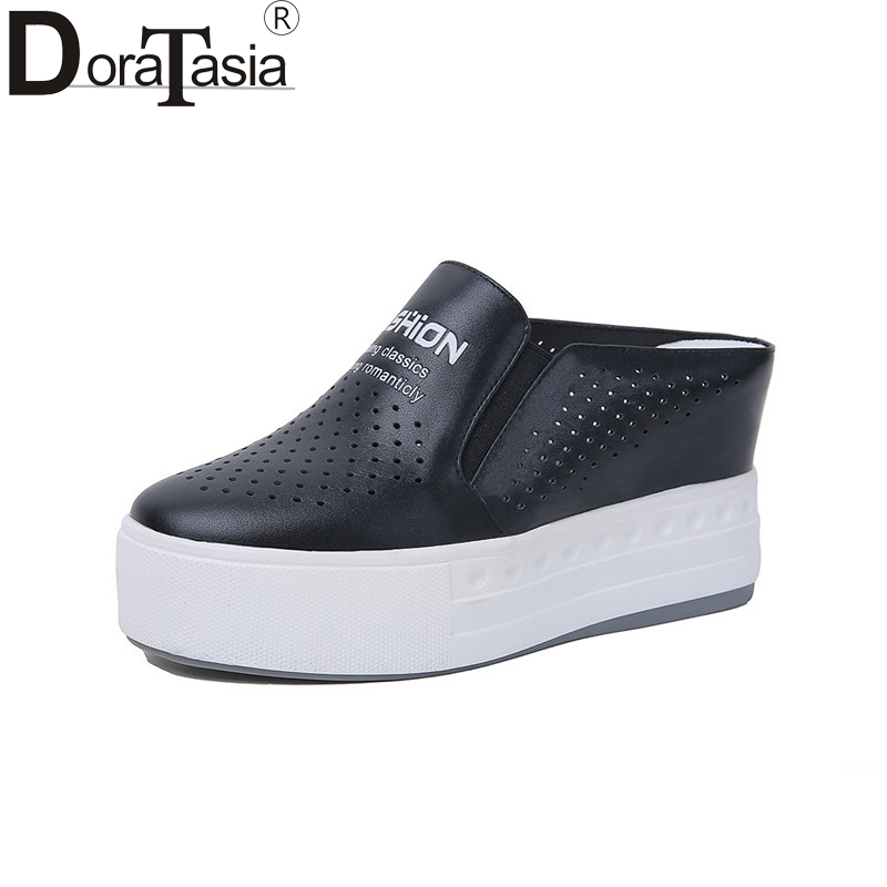 DoraTasia Brand Design Solid Genuine Leather Platform Shoes Woman Casual Spring Popular Flats Black Big Size