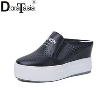 DoraTasia Brand Design Solid Genuine Leather Platform Shoes Woman Casual Spring Popular Flats Black Big Size 33-40 chinese rhinestone foldable spring autumn crystal large size china genuine leather flats peach roll up famous brand shoes 10