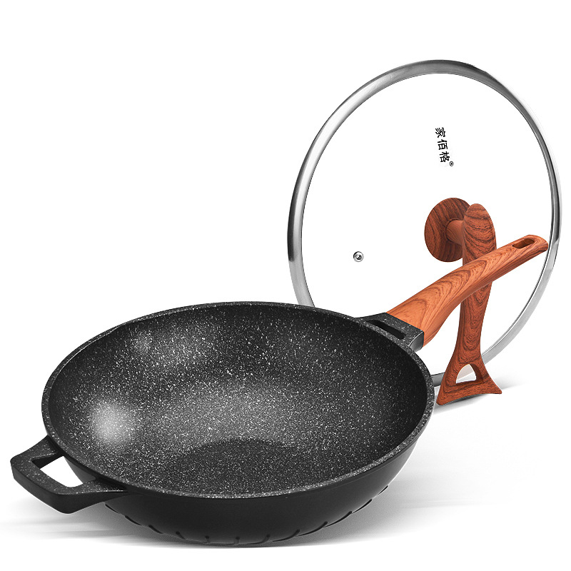 A  Non-Stick Thicken Granite Coating Frying Pan With Lid/wood Handle Aluminum Grip Skillet 32cm Home Smokeless Frying Cooker
