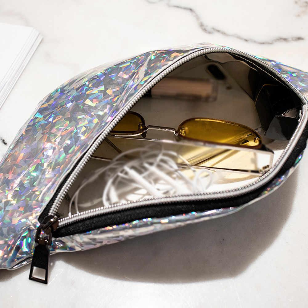 ファッションニュートラルレーザースパンコールウエストバッグ屋外ファニーパックポーチヒップ財布サッチェルレーザー女性メッセンジャーバッグウエストパック