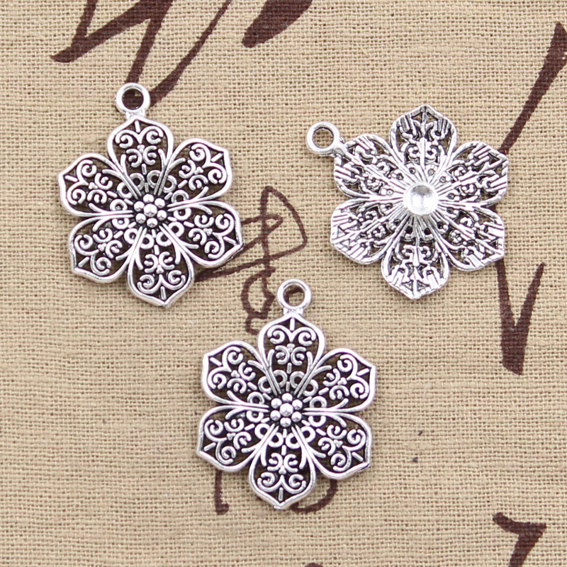 99Cents 5pcs Charms flower 32*24mm Antique Making pendant fit,Vintage Tibetan Silver,DIY bracelet necklace