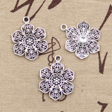 99Cents 5pcs Charms flower 32*24mm Antique Making pendant fit,Vintage Tibetan Silver,DIY bracelet necklace