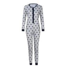 eb2f82c53b Damas estrella impreso traje de pijamas familia pijamas de manga larga de  las mujeres gris kigurumi unicornio navidad mono mujer.